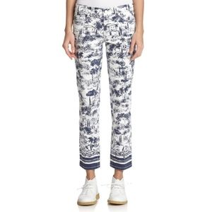 Tory Burch White Printed Crop Jeans